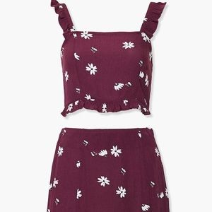 MAROON RUFFLE TWO PIECE SET
